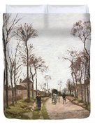 The Road To Saint Cyr At Louveciennes Duvet Cover by Camille Pissarro
