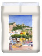 The Ruined Tower Above The Beach At Amalfi On The Southern Italian Coast Duvet Cover