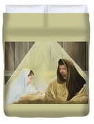The Savior Is Born Duvet Cover