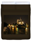 The Seine And Notre Dame At Night Duvet Cover