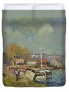 The Seine At Port-marly Duvet Cover by Alfred Sisley