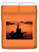 The Setting Sun Silhouettes Duvet Cover
