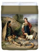 The Stone Breaker And His Daughter Duvet Cover