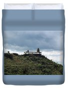 The Structure Of An Abandoned Temple On The Top Of A Green Covered Hill With Blue And White Clouds I Duvet Cover
