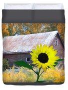 The Sunflower And The Barn Duvet Cover