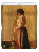 The Sweeper Duvet Cover by Pierre Auguste Renoir