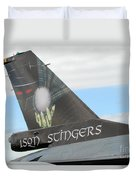 The Tail Of A Belgian F16 Aircraft Duvet Cover by Luc De Jaeger