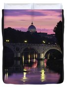 The Tiber River And The Dome Of St Duvet Cover