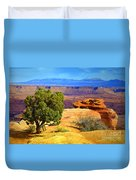The Tree The Canyon And The Mountains Duvet Cover