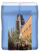 Theater District And City Flowers Duvet Cover