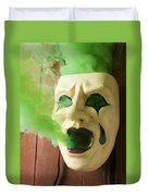 Theater Mask Spewing Green Smoke Duvet Cover
