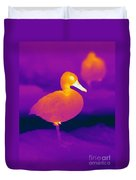 Thermogram Of A Cinnamon Teal Duck Duvet Cover