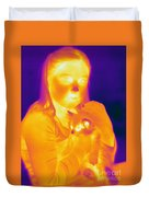 Thermogram Of A Girl And Cat Duvet Cover