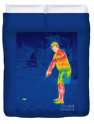Thermogram Of A Golfer Duvet Cover