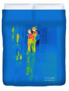 Thermogram Of Students At A Locker Duvet Cover