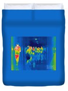 Thermogram Of Students In A Hallway Duvet Cover