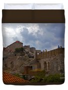 They Walk The Wall In Dubrovnik Duvet Cover