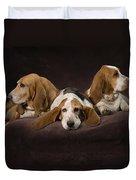 Three Basset Hound On Brown Muslin Duvet Cover