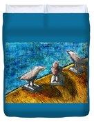 Three Birds Blue Duvet Cover
