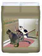 Three Cats Looking Out Into The Forest Duvet Cover