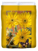 Three Daisy's And Butterfly Duvet Cover
