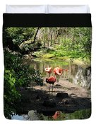 Three Flamingos Duvet Cover