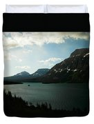 Three Mountains On Many Glacier Lake Duvet Cover