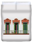 Three Of A Kind - The Windows In Old Sacramento Duvet Cover by Christine Till