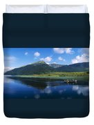 Three People On A Boat In The Lake Duvet Cover