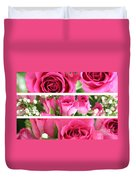 Three Pink Roses Landscape Duvet Cover