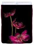 Three Purple Anemones Duvet Cover