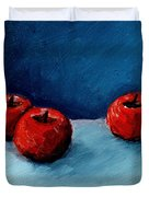 Three Red Apples Duvet Cover by Michelle Calkins