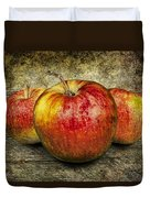 Three Red Apples Duvet Cover