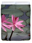 Three Sweet Pink Water Lilies Duvet Cover