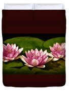 Three Water Lilies Duvet Cover