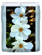 Three White Flowers Duvet Cover