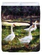 Three White Geese Duvet Cover