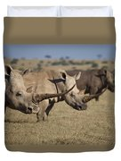 Three White Rhinos Line Up In Solio Duvet Cover