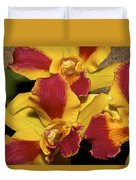 Three Yellow And Red Orchids Duvet Cover