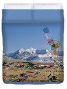 Tibetan Buddhist Prayer Flags Atop Pass Duvet Cover