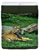 Tiger - Endangered - Lying Down - Tongue Out Duvet Cover
