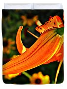 Tiger Lily Bud And Bloom Duvet Cover