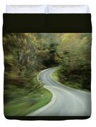 Time-exposed View Of Route 49 Taken Duvet Cover
