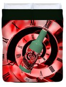 Time In A Bottle Red Duvet Cover