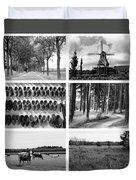 Timeless Brabant Collage - Black And White Duvet Cover
