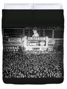 Times Square Election Crowds Duvet Cover