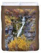 Timpanogos Waterfall In The Fall - Utah Duvet Cover