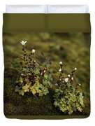 Tiny Flowering Plant Grows In Moss Duvet Cover