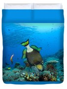 Titan Triggerfish Picking At Coral Duvet Cover