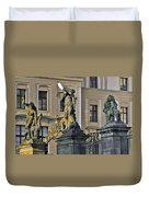 Titans Battling Outside Prague Castle Duvet Cover by Christine Till